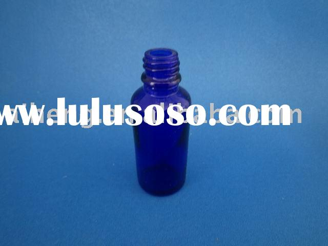 blue color glass bottle for essential oil with dropper