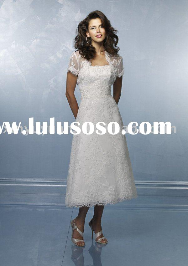 boutique designer tea length wedding dresses with jacket MLW-174