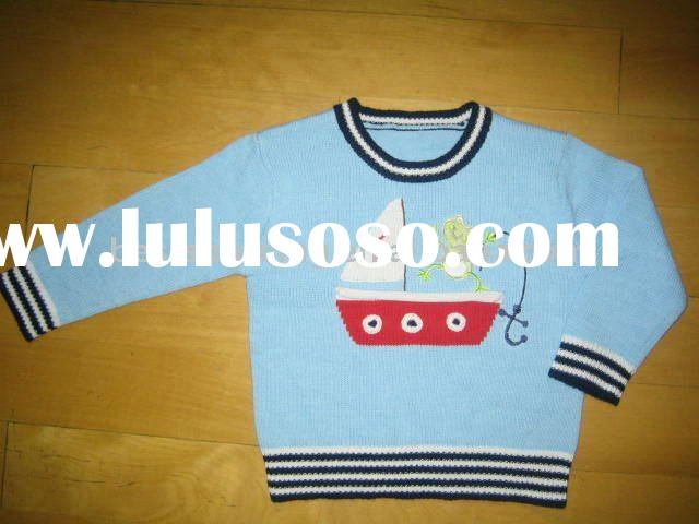 children spring clothing cotton knitted 7gg intarsia sail boat crew neck long sleeve boy's p