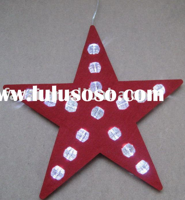 christmas light / decoration light (linen star hanging light with plastic beads decoration)