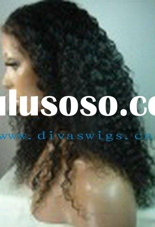 curly black indian remy human hair full lace wig accept paypal