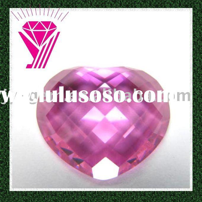 double faceted heart shape cubic zirconia cz stone