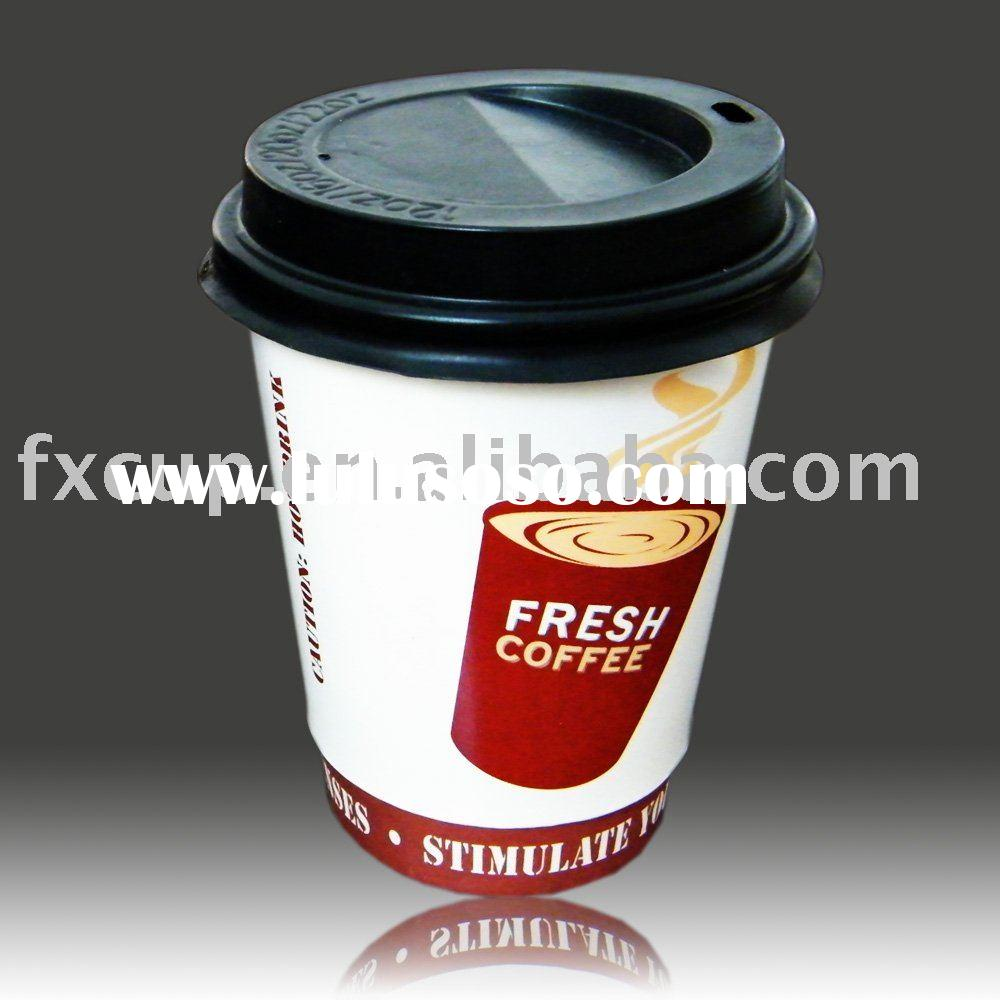 double wall coffee paper cup with lid