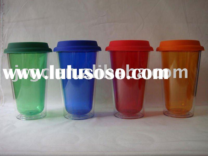 double wall plastic mug with silicon lid