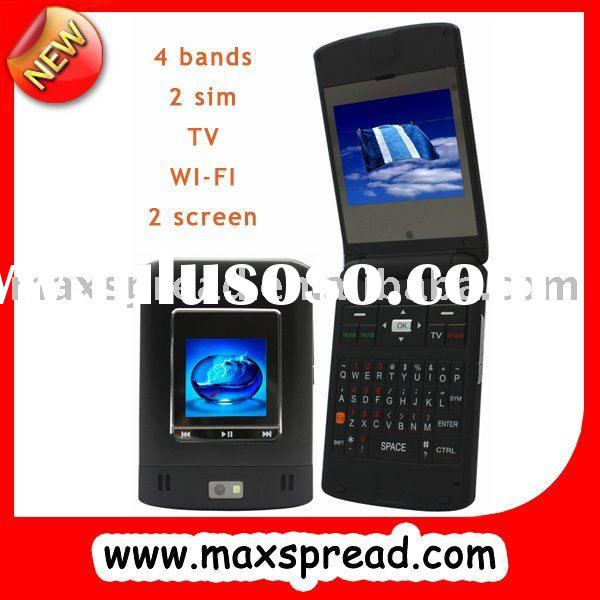 dual screen flip cell phone with wifi java tv