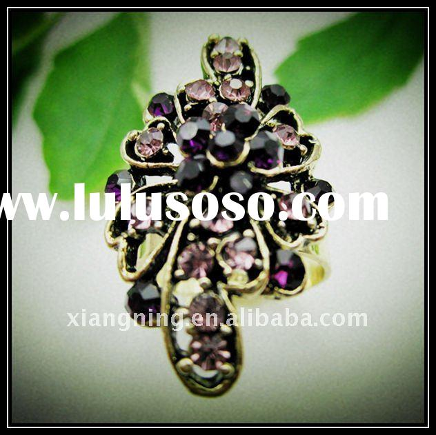 fashion antique gold flower shape diamond rings jewelry
