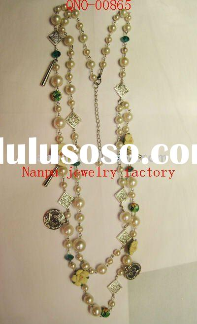 fashion funky costume handmade beaded pearl necklace jewelry