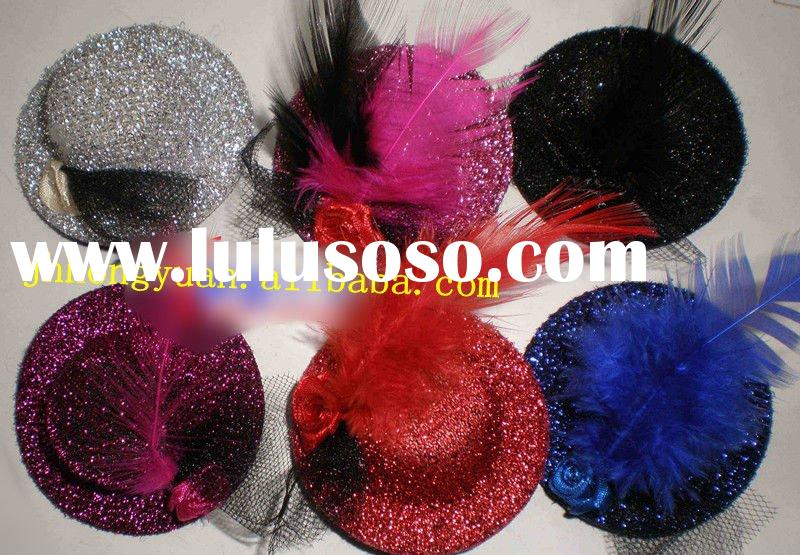 fashion party decoration mini flower hat/sinamay ladies feather hats/hair clips