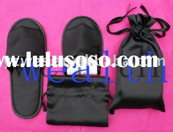 foldable satin upper disposable hotel slippers