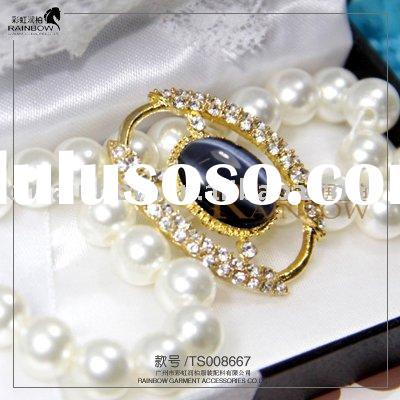high quality and eco-friendly black bead golden brooch for wedding