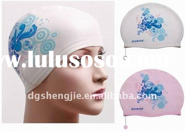 high quality and fashion design silicone waterproof swim caps for women