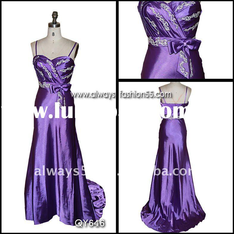 high quality purple taffeta formal evening dress qy646