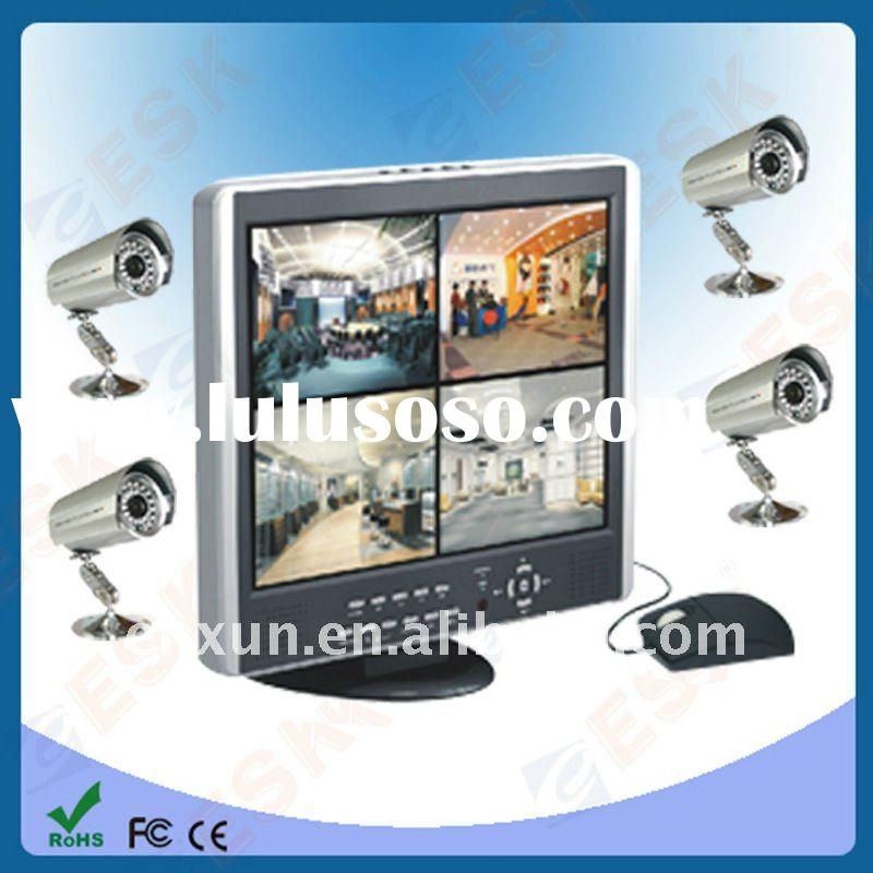 "home security DVR kitS with network fuction dvr+ 15"" lcd Monitor, 4cameras, Digital video recor"