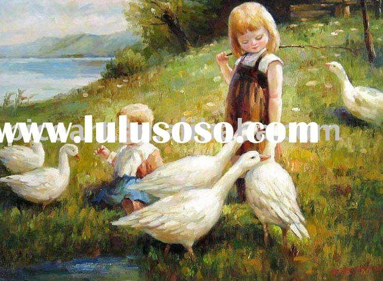 juvenile oil paintings handpainted child painting on canvas with high quality