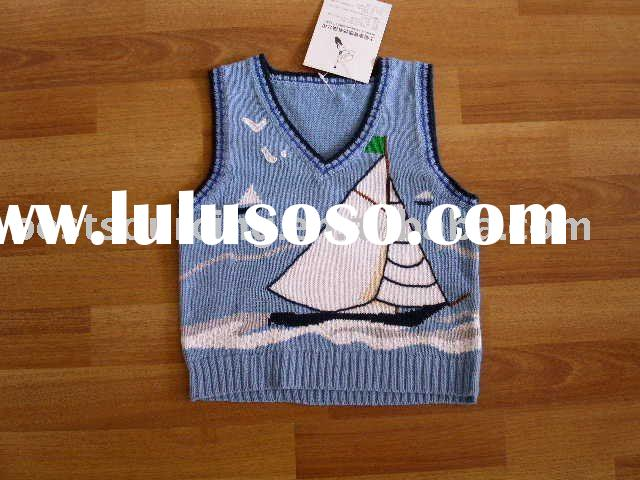 kids autumn clothing cute ramie cotton knitted 7gg intarsia sail boat v neck boy's sweater v