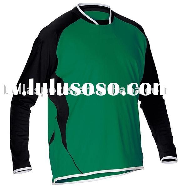 long sleeve soccer jersey,green polyester soccer/football club uniform home/away soccer kit with rib