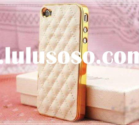 luxury Plating Soft Leather Hard Back Cover Case for iPhone 4 4G White-Gold