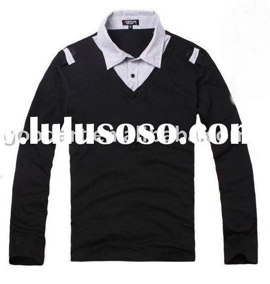 man t shirt with fake double collar in long sleeve yf-7546
