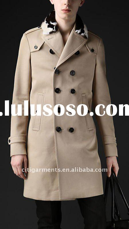 mens Double breasted bonded cotton trench coat with detachable mink fur collar
