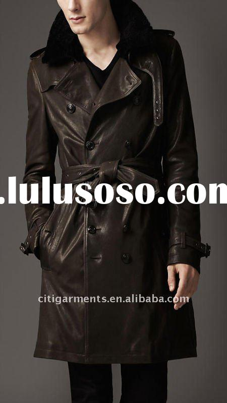 mens Double breasted leather trench coat with a textured dyed shearling overcollar