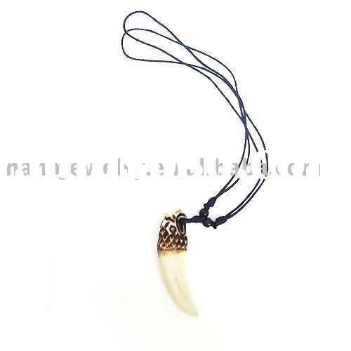 necklace, fashion jewelry, African necklace, ox horn ox bone tooth with craved totem