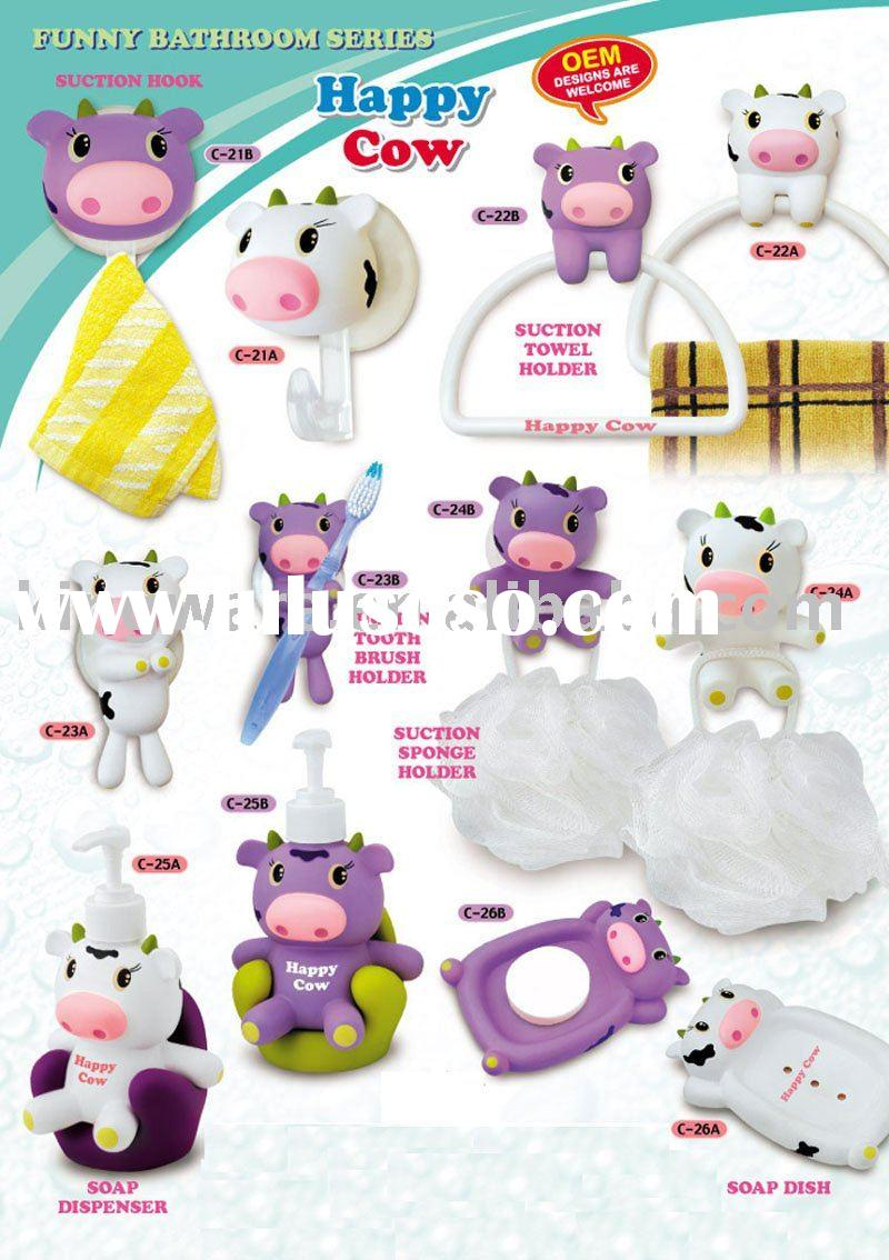 novelty cartoon bathroom accessories with suction