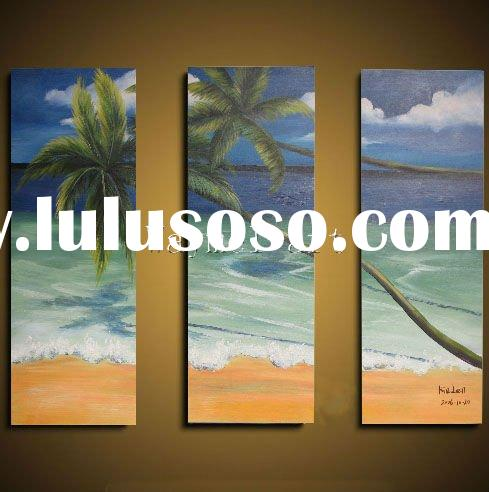 palm tree in the sunshine by the sea beach oil painting for wall decoration