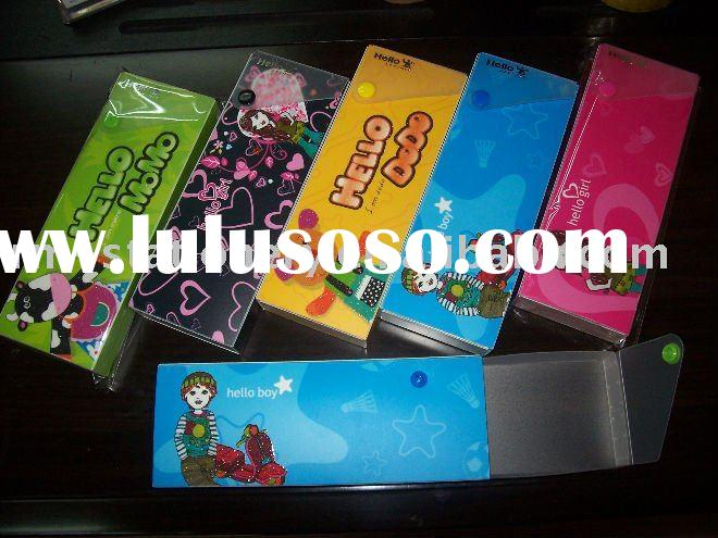 plastic cheap pencil case with cartoon
