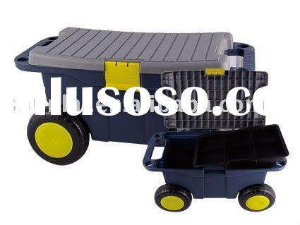 plastic storage box with wheels/plastic rolling tool box/Gardon box with wheels