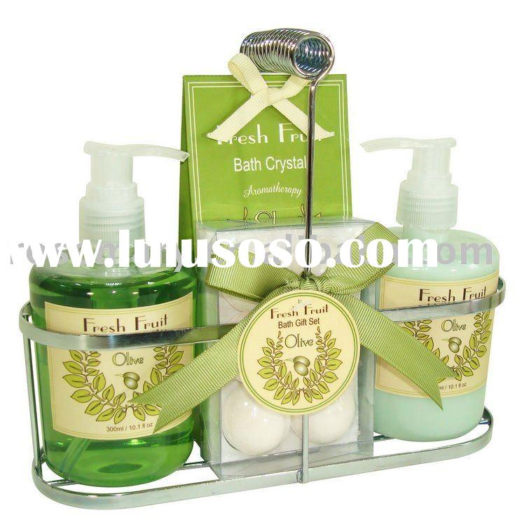 popular bath product in wire rack for olive fragrance