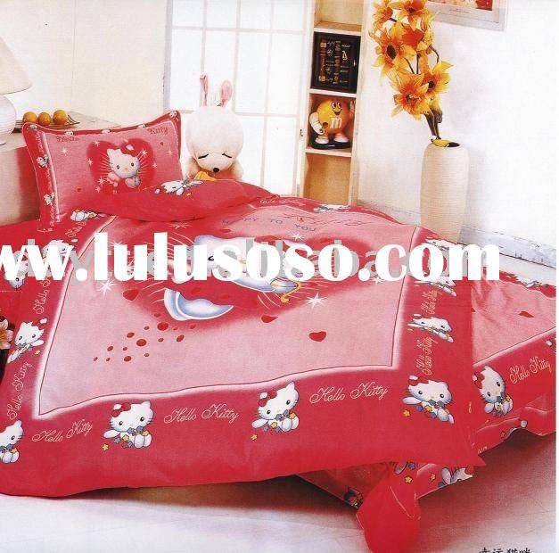 power seller +100% Cotton Hello kitty Single Bedding (3pcs)set for kid duvet cover bedding set for c