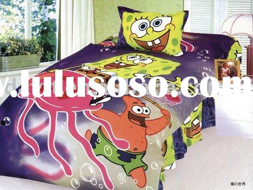 power seller +100% Cotton Spongebob Single Bedding (3pcs)set for kid duvet cover bedding set for chi