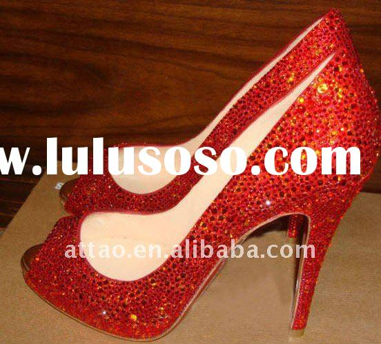 red diamond wedding shoes/ladies high heel wedding shoes