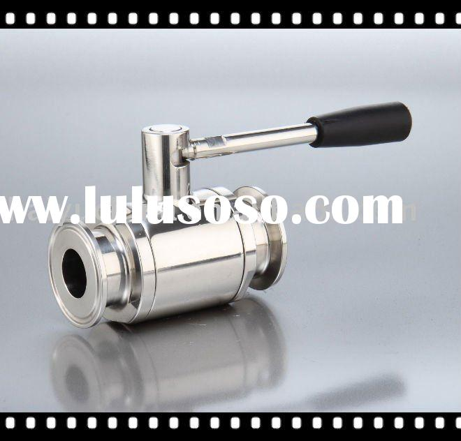 sanitary grade ball valve, tri-clover end, in stainless steel 304 or 316L
