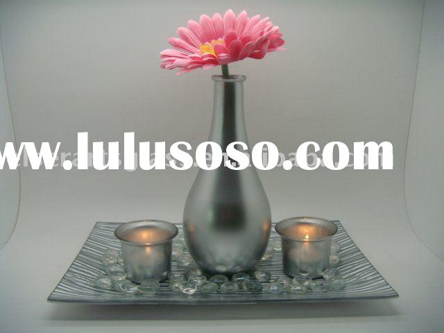 silver glass vase set with candle holders flower plate for home decoration factory