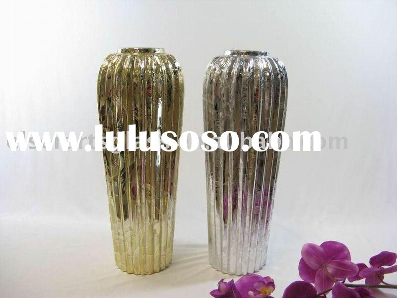 silver plated color glass flower vase for wedding decoration