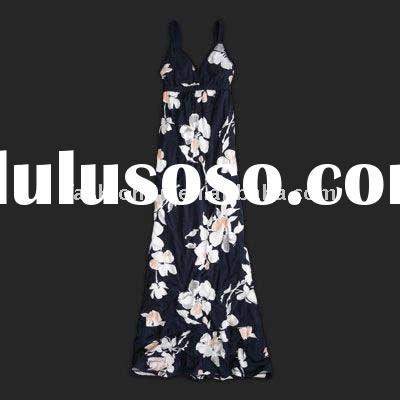 soft flower fashion cotton long dress of ladies