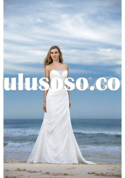 sweet-heart white casual Beach Wedding dress