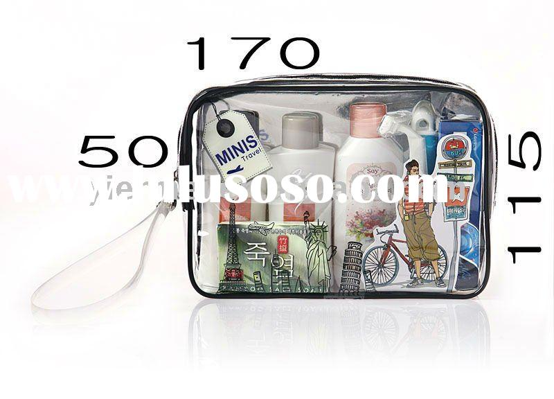 transparent pvc cosmetic bag with handle