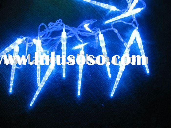 twinkling blue led solar christmas icicle string light