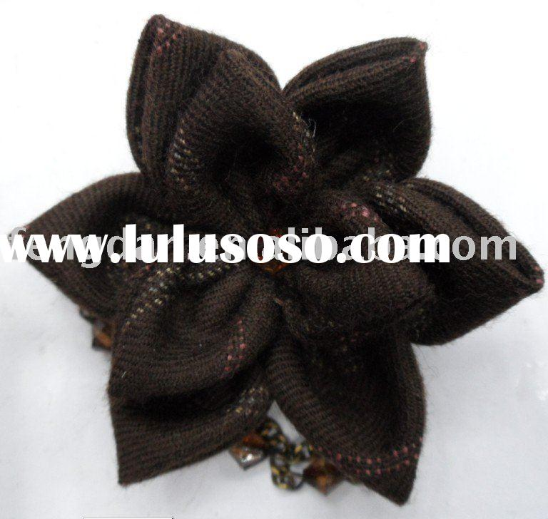 unique handmade two layers fabric flower brooches with beads centers suitable to match garments,hand