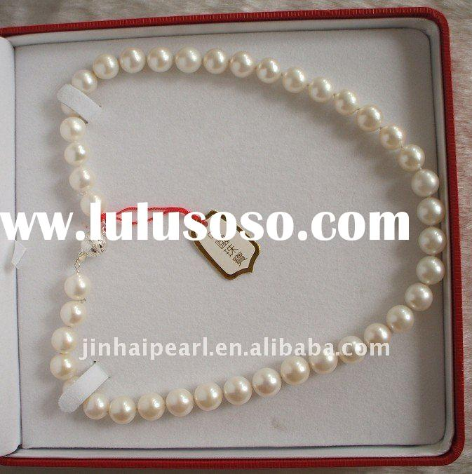 white round freshwater pearl necklace with 925 silver fitting