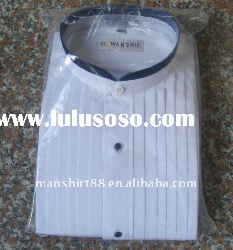 "white with black banded collar trim 1/4"" pleat tuxedo shirt"