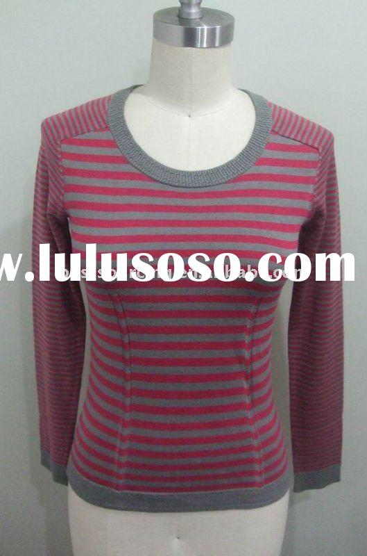 women's spring appearel silk cotton cashmere blend 12gg knitted crew neck long sleeve lady s