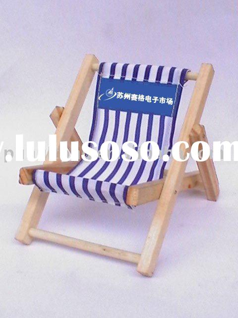 wooden beach chair shape mobile phone holder