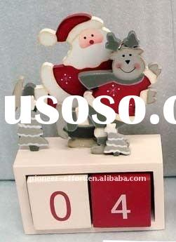 wooden christmas advent calendar, small advent table decorations, santa & deer with 2 blocks