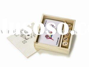 wooden dice playing card set,wooden box game set