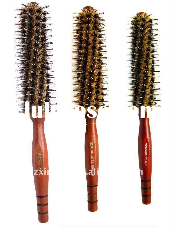 wooden handle hair brush ,top quality with best nylon and bristle(6688)