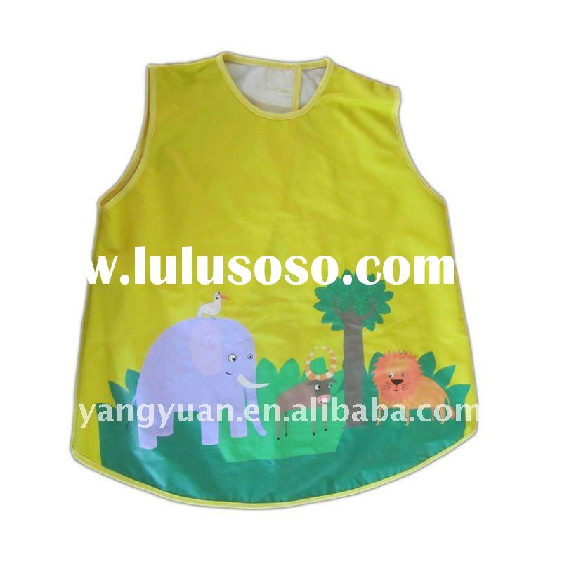 yellow colour PU fabric baby bib with animals pattern and no sleeves