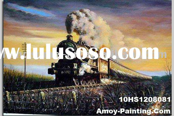 100% Handmade Train Landscape Oil Painting On Canvas